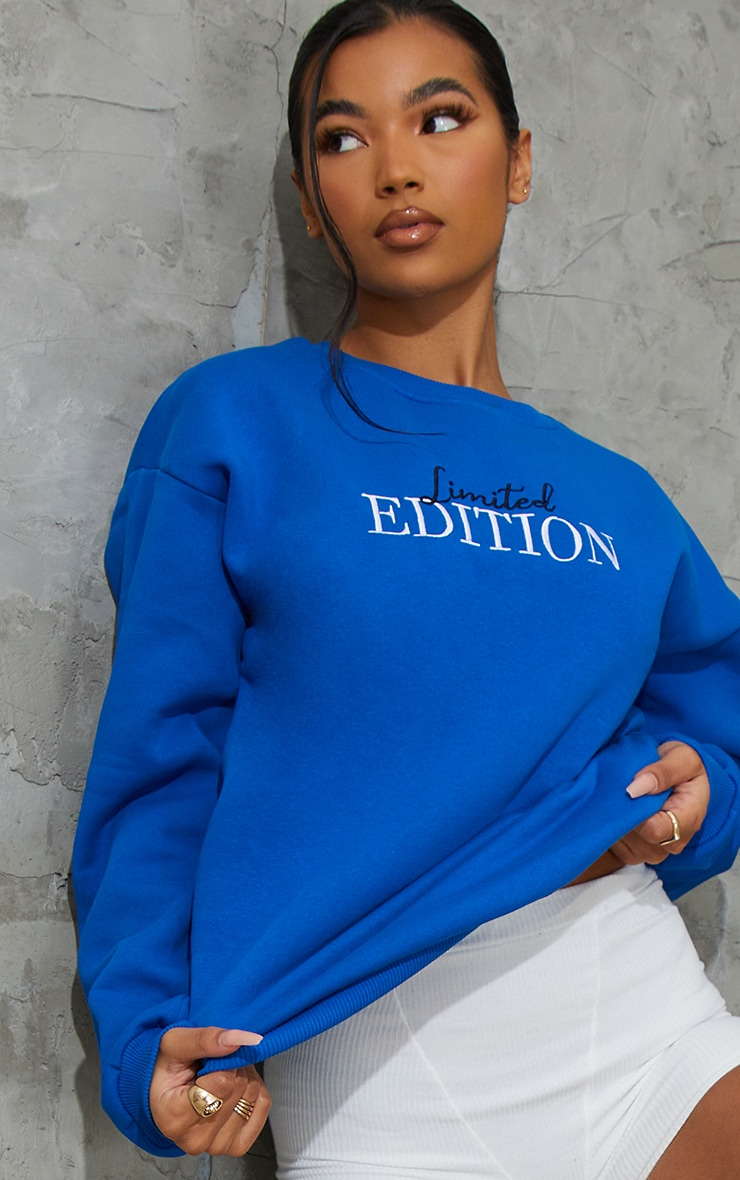 Royal Blue Limited Edition Slogan Embroidered Sweatshirt 4