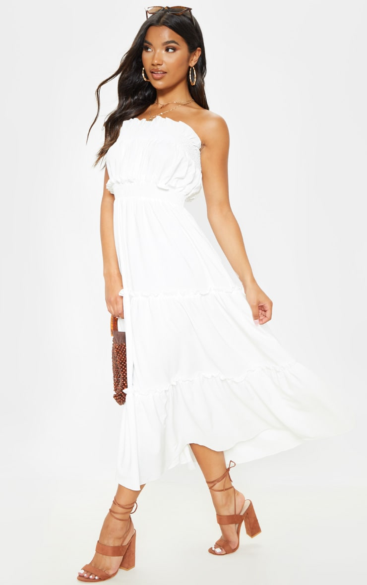 White Shirred Frill Tiered Bandeau Maxi Dress 1