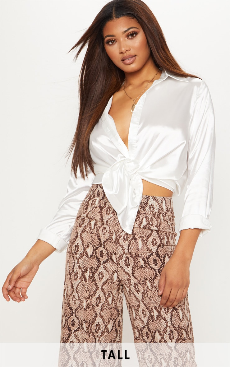 Tall White Satin Oversized Shirt 1