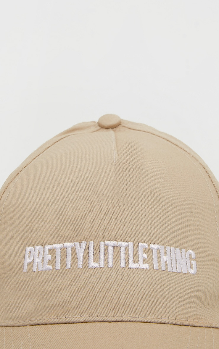 PRETTYLITTLETHING Logo Stone White Front Cap 3