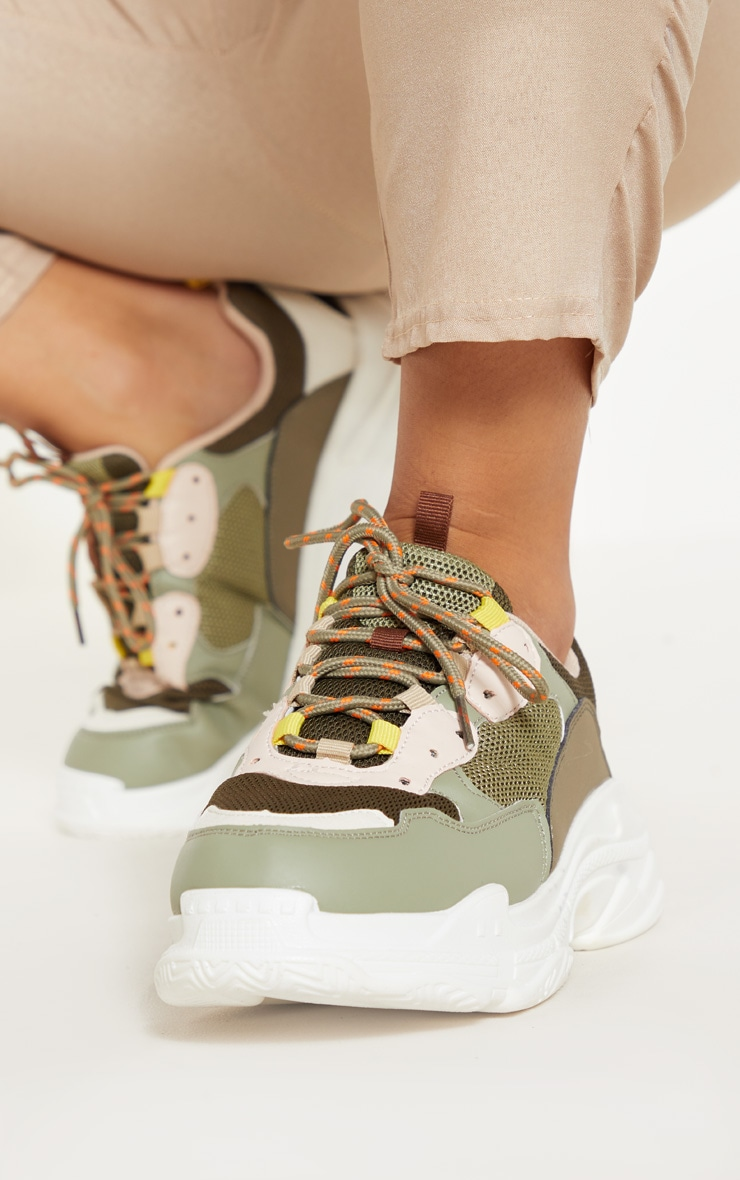 Light Khaki Lace Up Chunky Sneakers 2