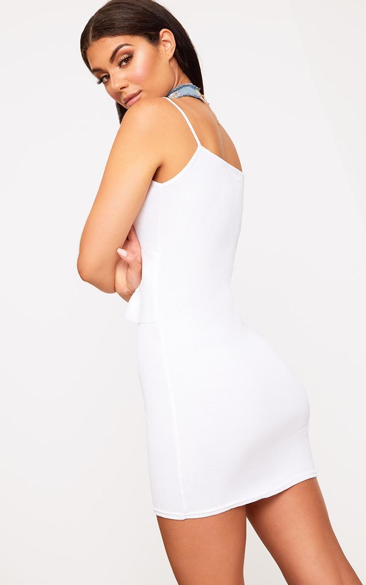 White Ruffle Front Bodycon Dress 2