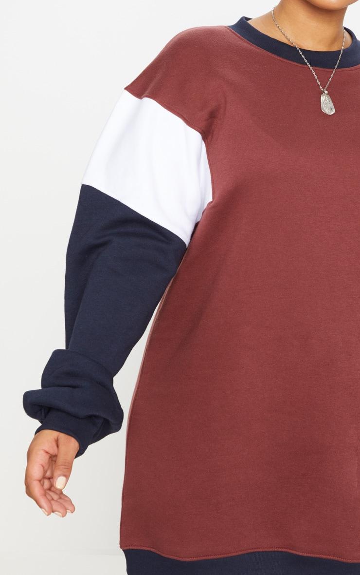 Plus Brown Oversized Contrast Panel Sweater Dress 5