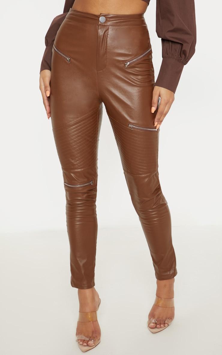 Tan Faux Leather Biker Skinny Trouser  2