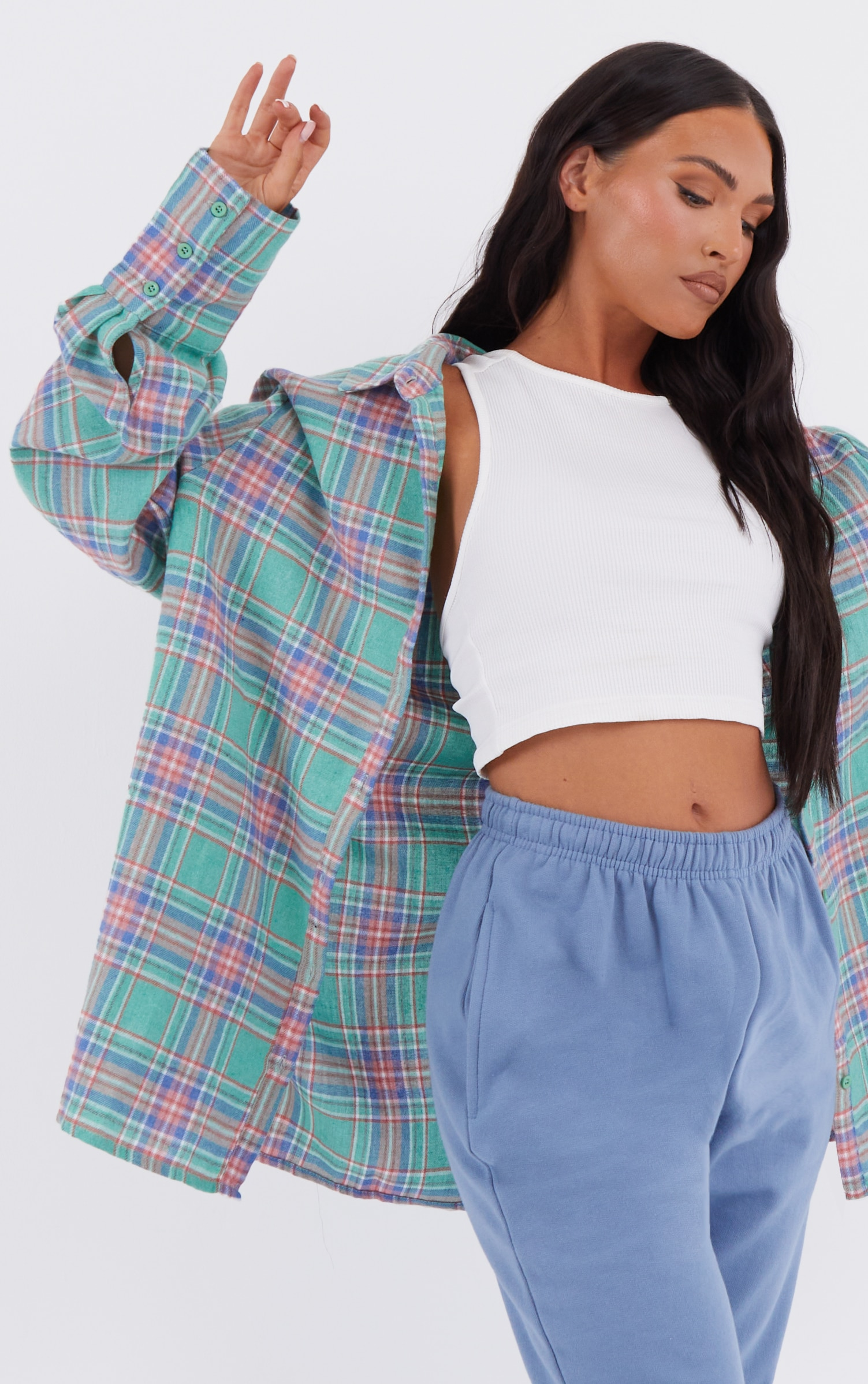 Mint Oversized Checked Shirt 4