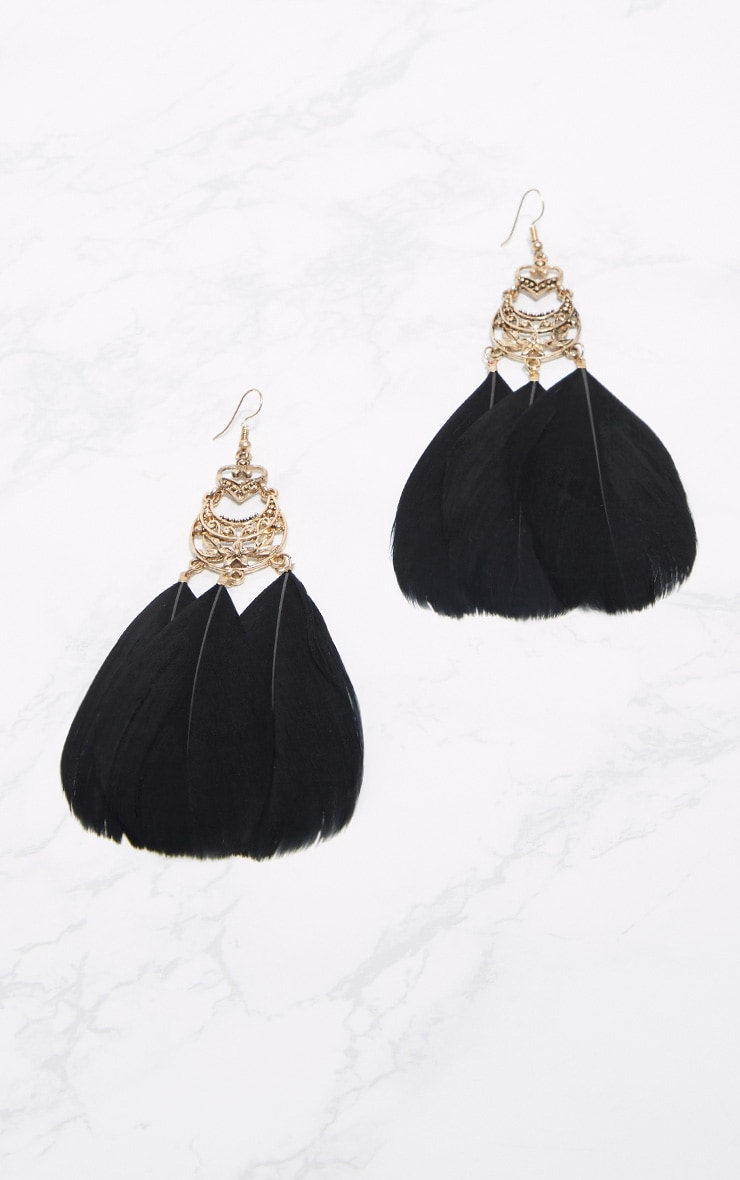 Black Statement Feather Earrings 1