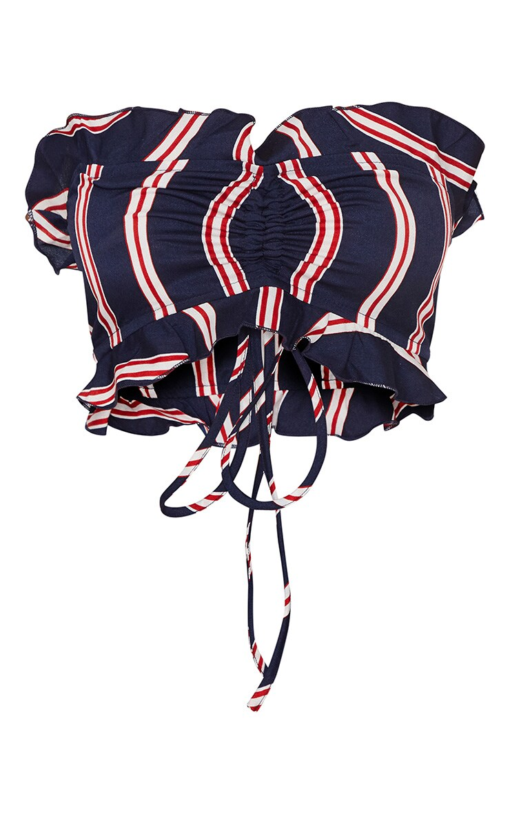 Petite Navy Stripe Ruffle Detail Bandeau Crop Top 3