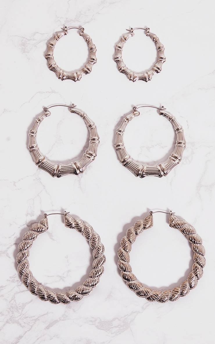 Silver Three Pack Creole Hoop Earrings 1