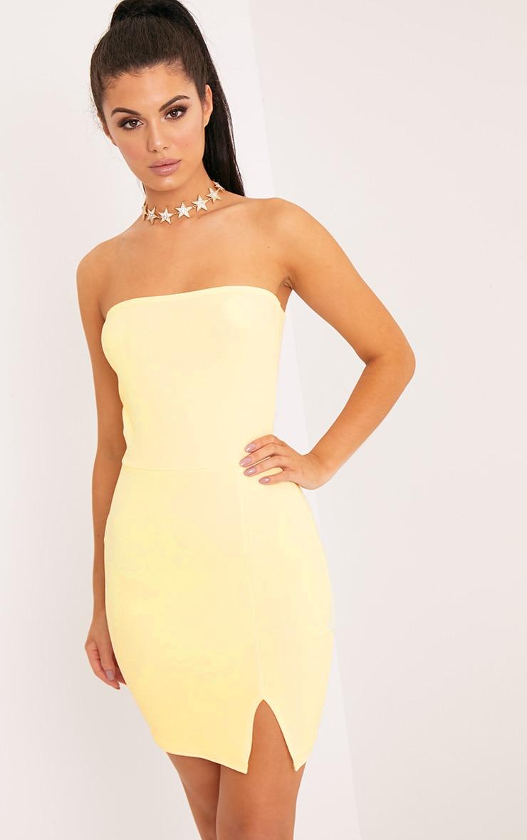 Layala Lemon Split Detail Bandeau Bodycon Dress 1
