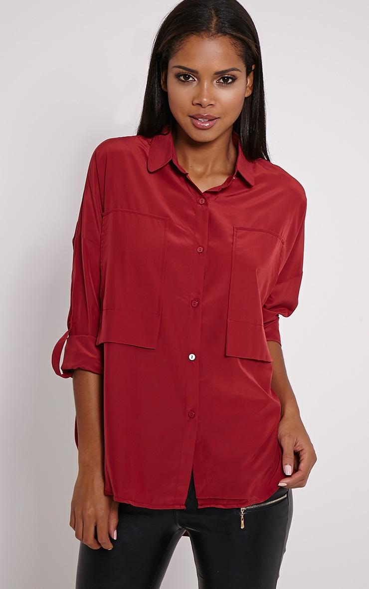 Birta Red Oversized Pocket Shirt 1