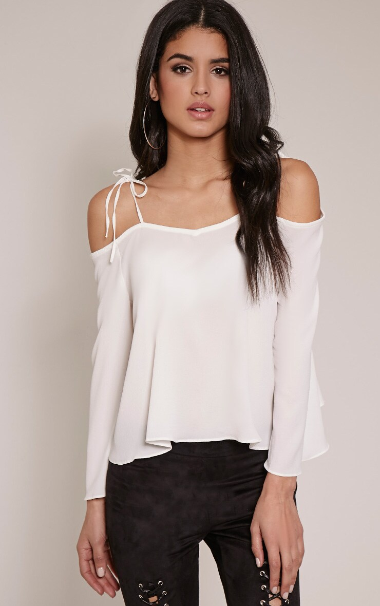 Mel Cream Cold Shoulder Bell Sleeve Blouse 1
