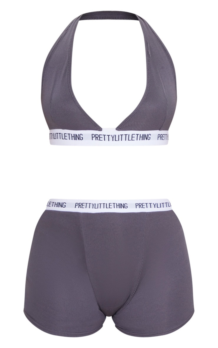 PRETTYLITTLETHING Charcoal Triangle Cosy Ribbed Lingerie Set 5
