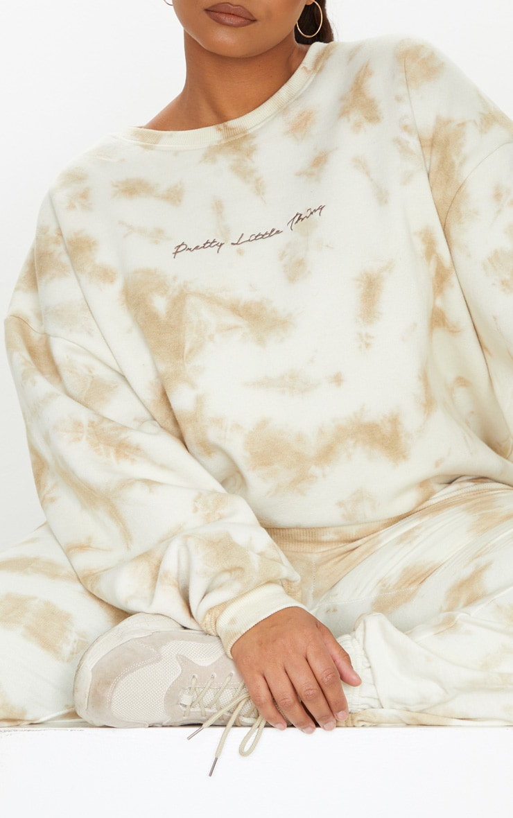PRETTYLITTLETHING Plus Cream Tie Dye Embroidered Sweater 4