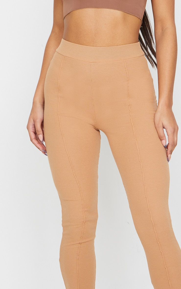Camel Pintuck Ribbed Legging 4