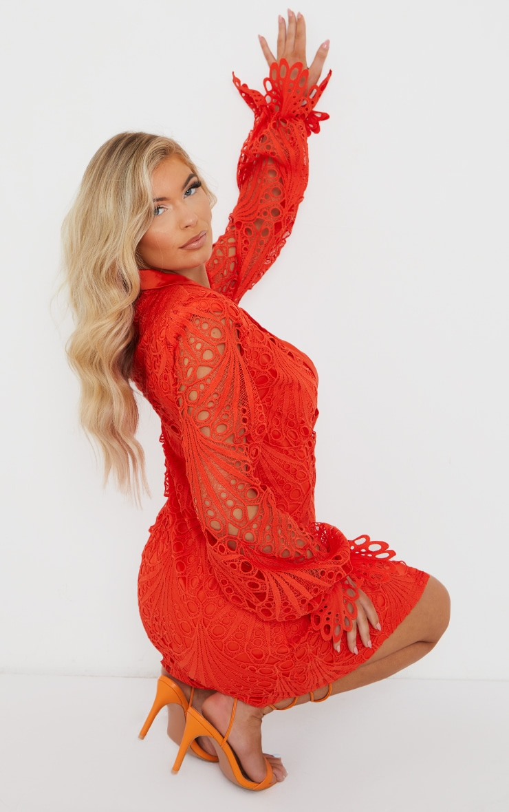 Bright Orange Thick Lace Frill Sleeve Blazer Dress 2