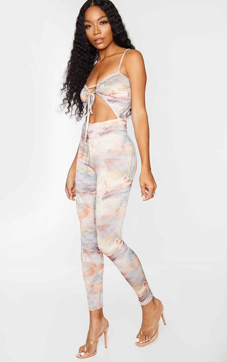 Stone Renaissance Print Strappy Ruched Front Jumpsuit 3