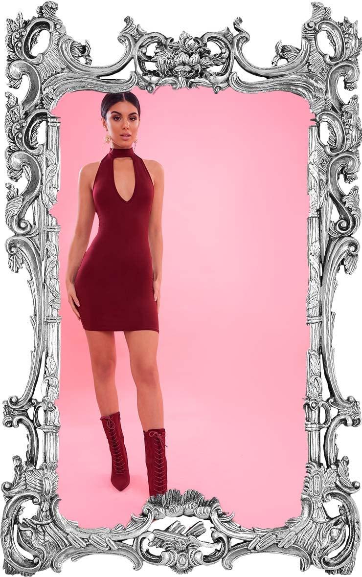 Burgundy High Neck Plunge Bodycon Dress 1