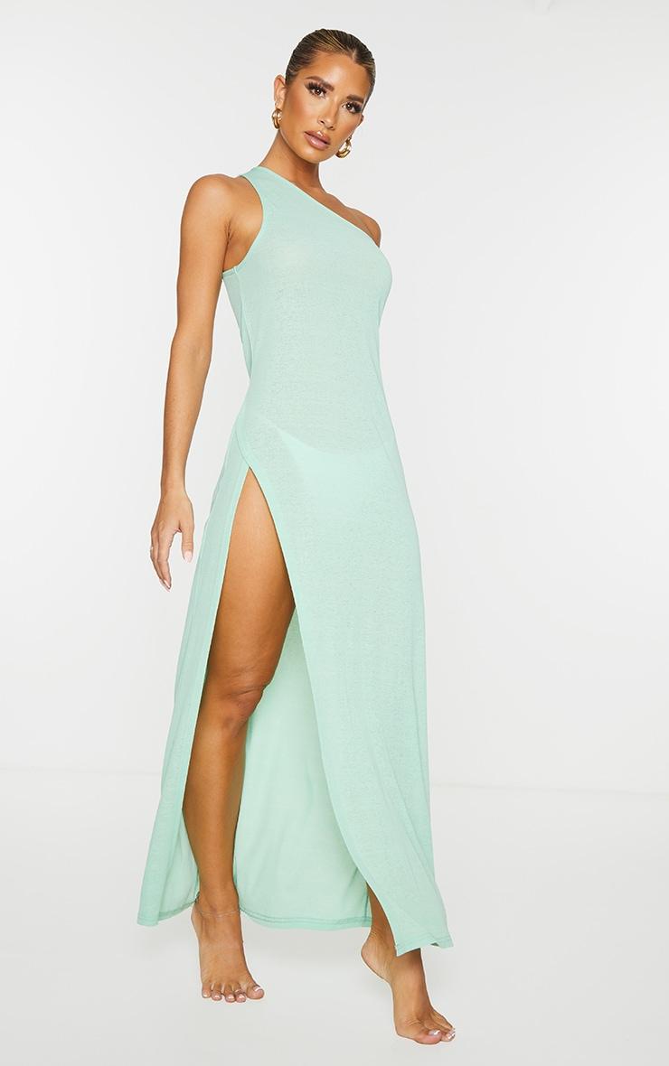 Green One Shoulder Split Maxi Beach Dress 3