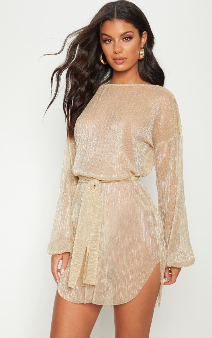 Gold Plisse Balloon Sleeve Sheer Shift Dress 1