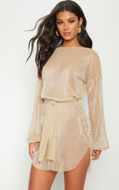 a72fcbc75e58 Gold Plisse Balloon Sleeve Sheer Shift Dress