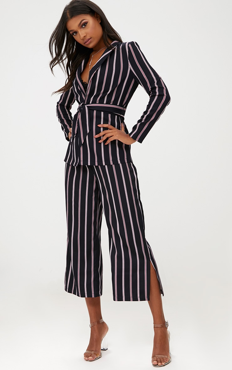 Red Stripe Suit Culottes 1