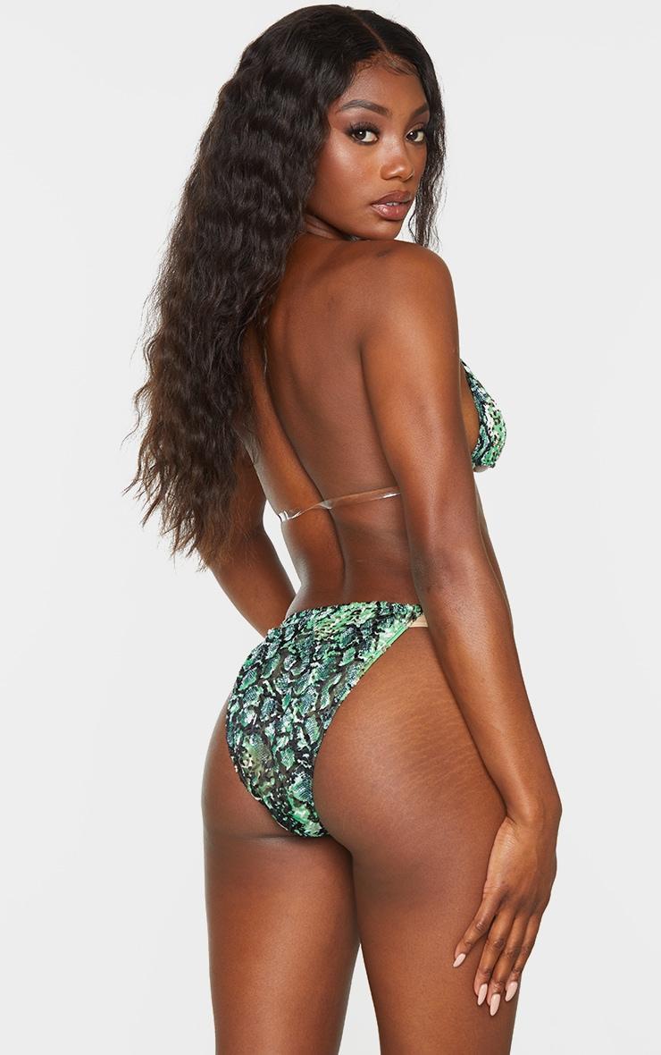 Green Croc Devore Clear Strap Triangle Bikini Top 2