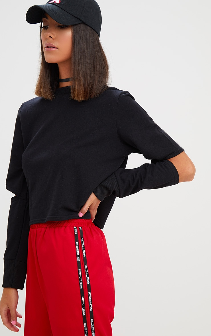 Black Cut Out Sleeve Sweater 1