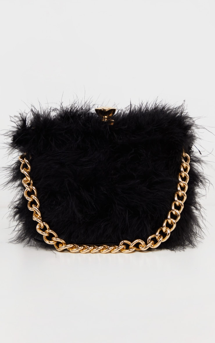 Black Marabou Large Clutch Bag 2