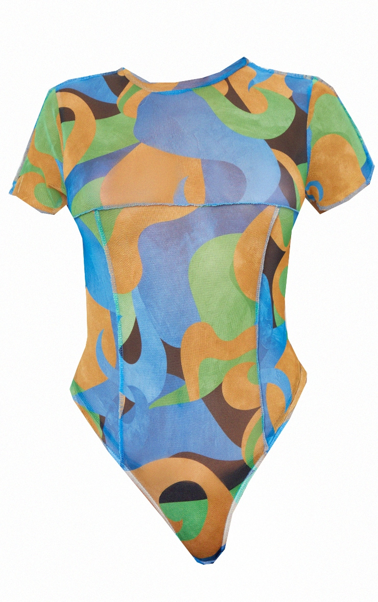Blue Mesh High Neck Contrast Seam Short Sleeve Bodysuit 5