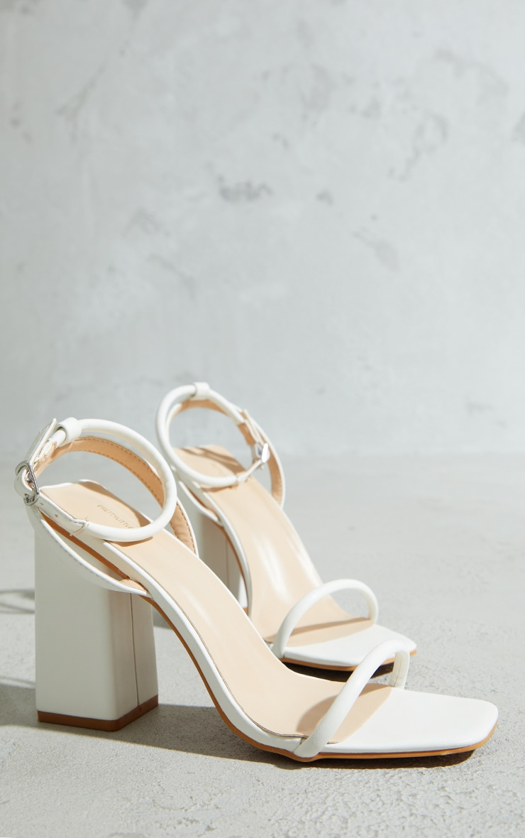 White Barely There Block Heeled Sandals 3