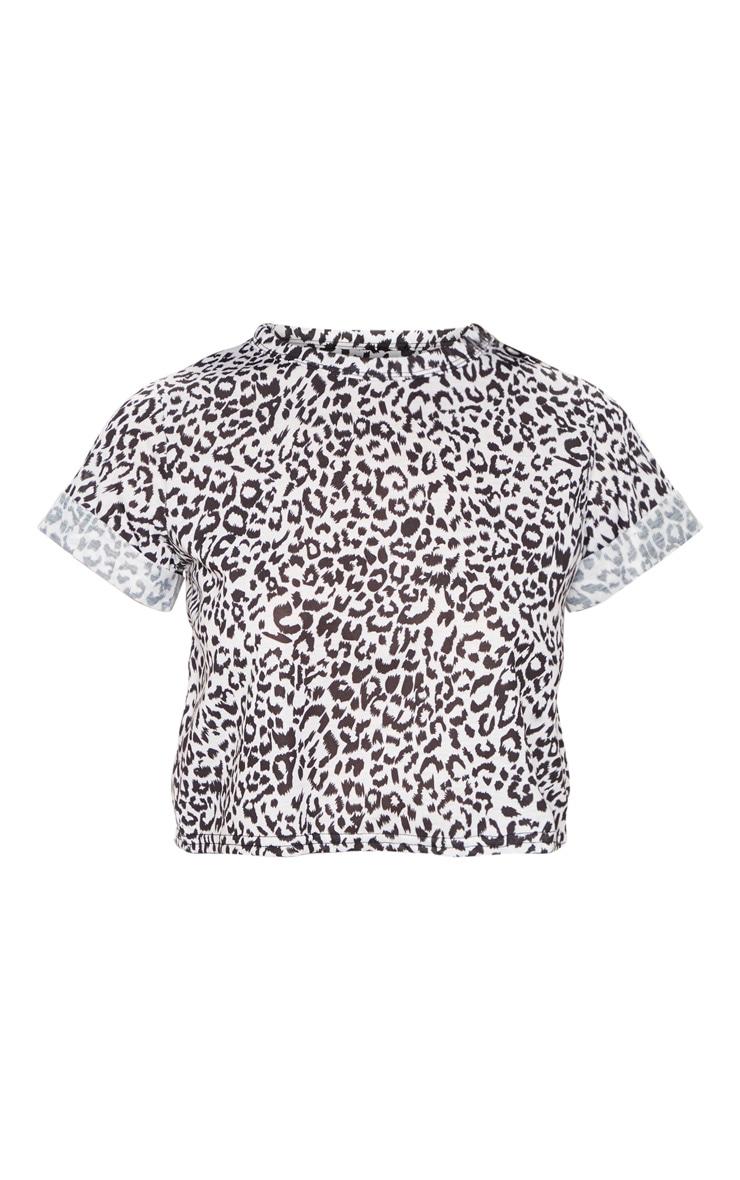 Basic Mono Tiny Leopard Short Sleeve Crop T Shirt 3