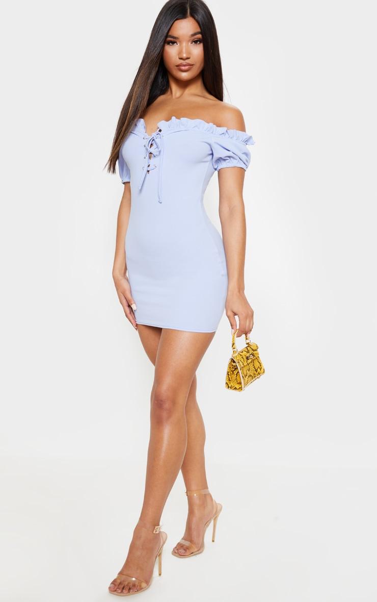 Baby Blue Lace Up Eyelet Detail Bardot Dress 1
