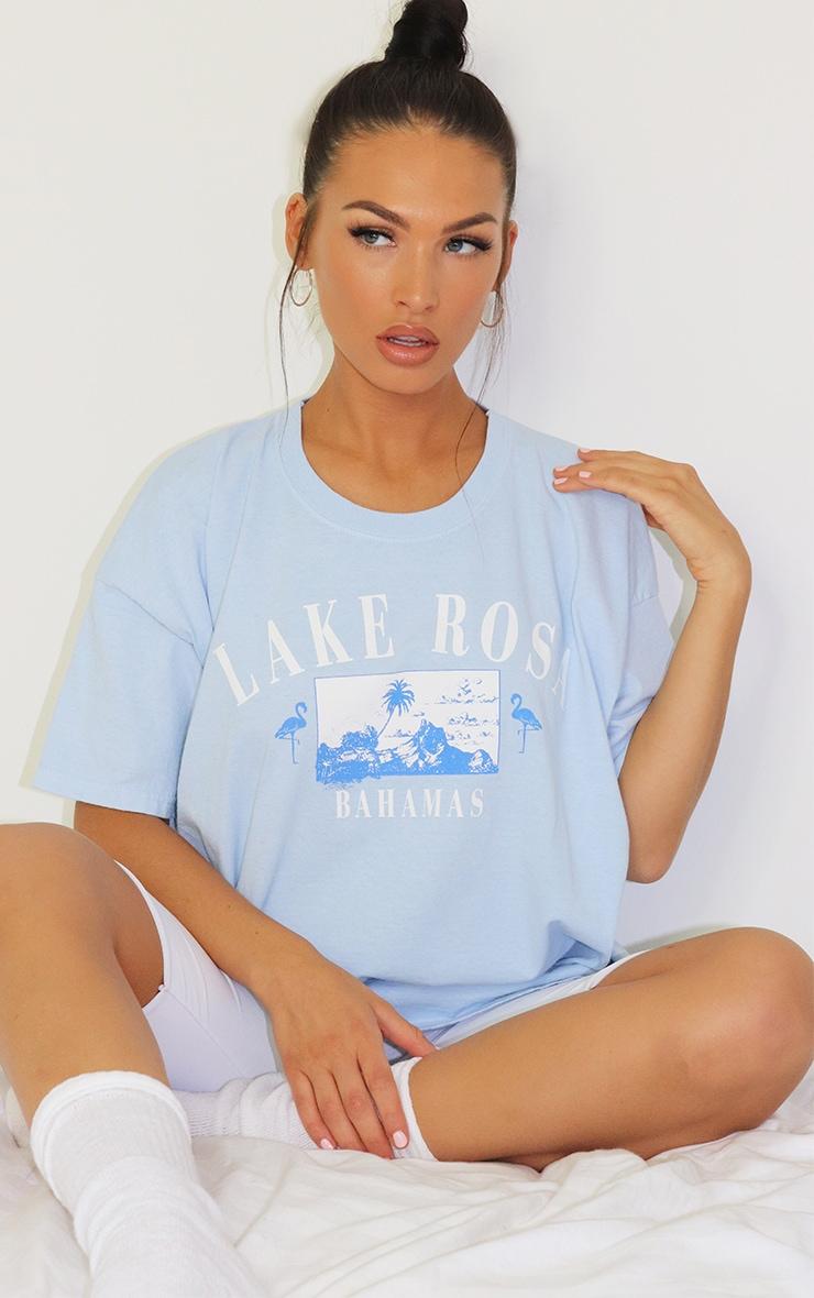 Blue Lake Rosa Logo Oversized Washed T Shirt 3