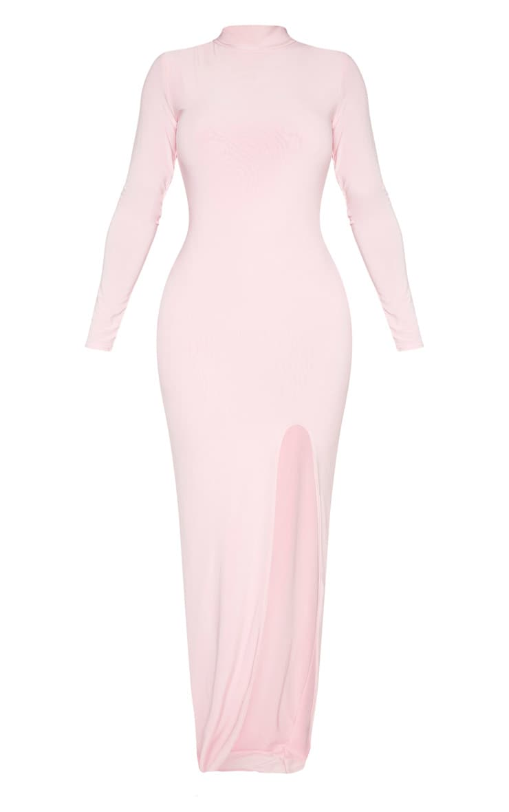Shape Candy Pink Slinky High Neck Maxi Dress 3
