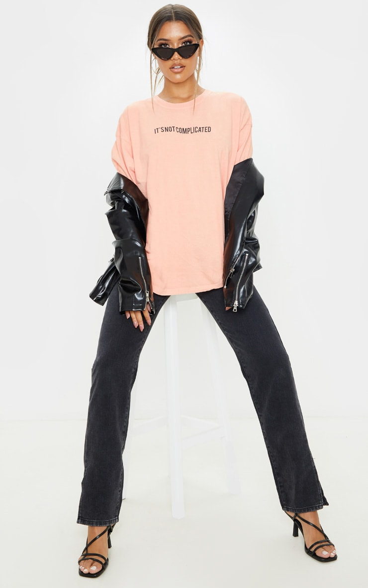 Peach Not Complicated Slogan Washed Oversized T Shirt 4