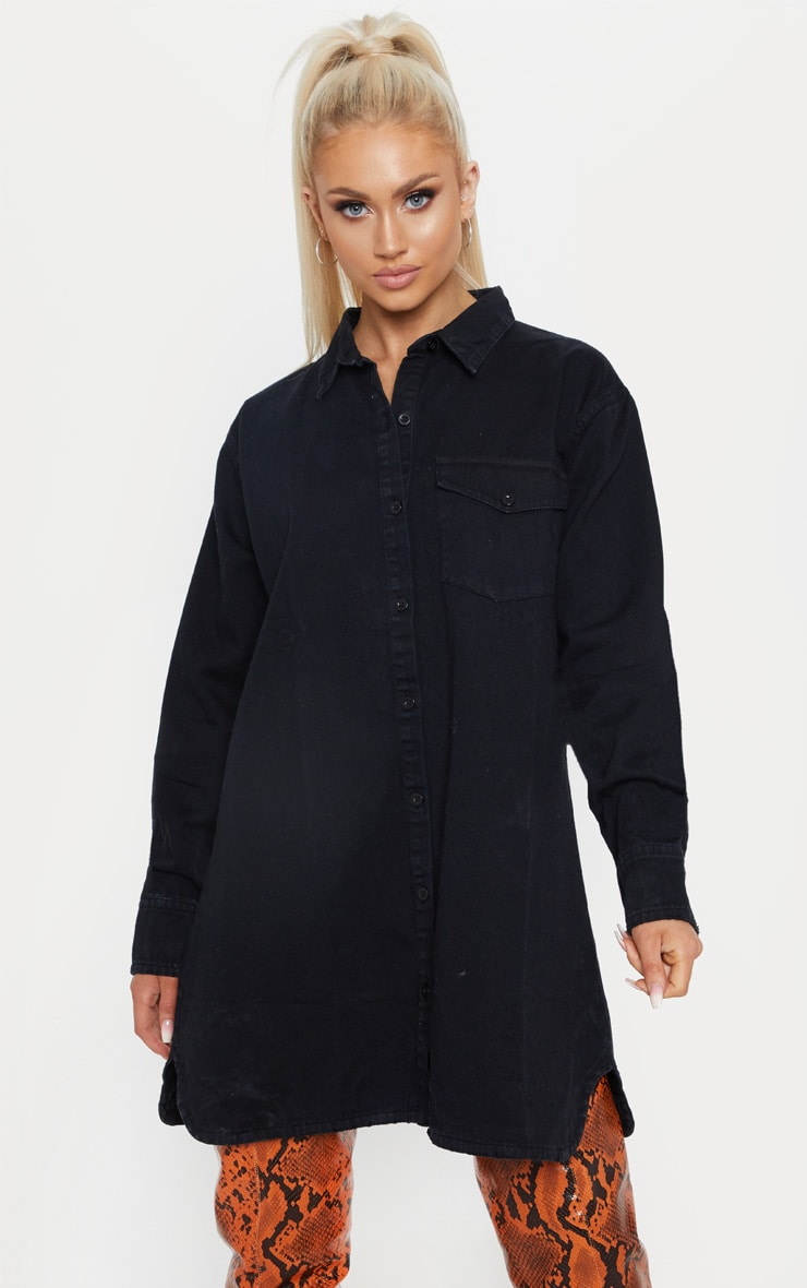 Black Oversized Denim Shirt Dress 1