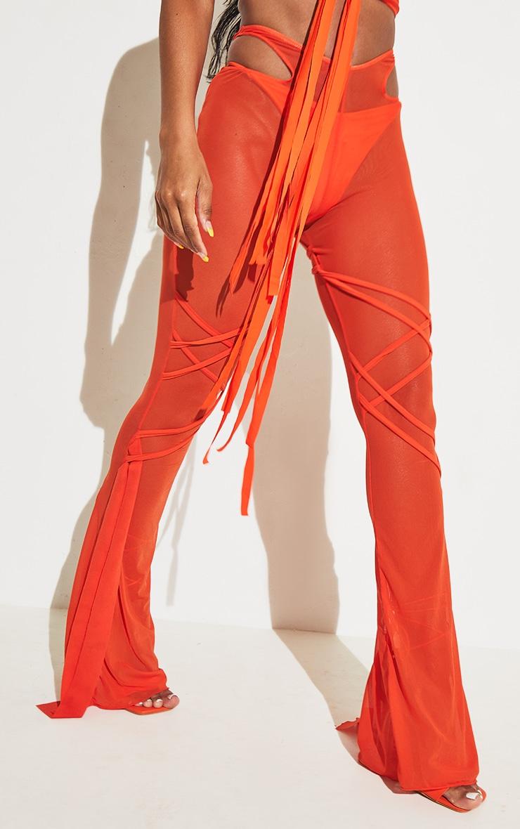 Orange Wrap Mesh Beach Pants 4