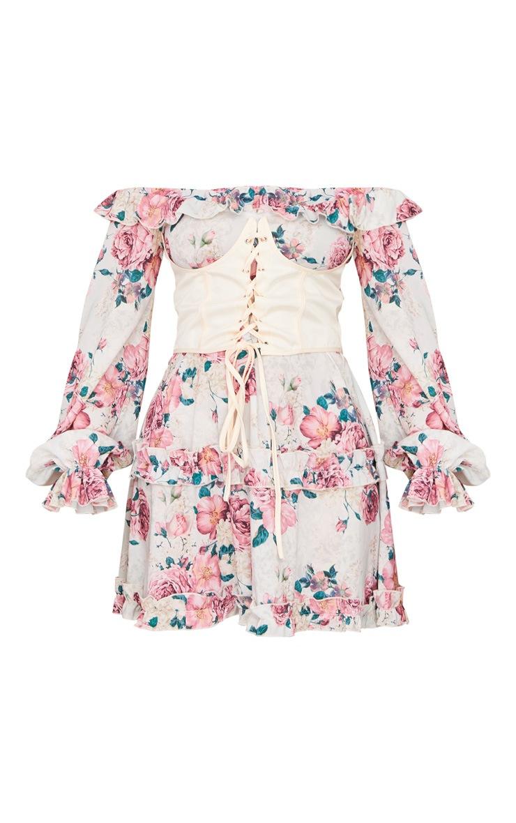 Nude Floral Print Corset Detail Bardot Shift Dress 5