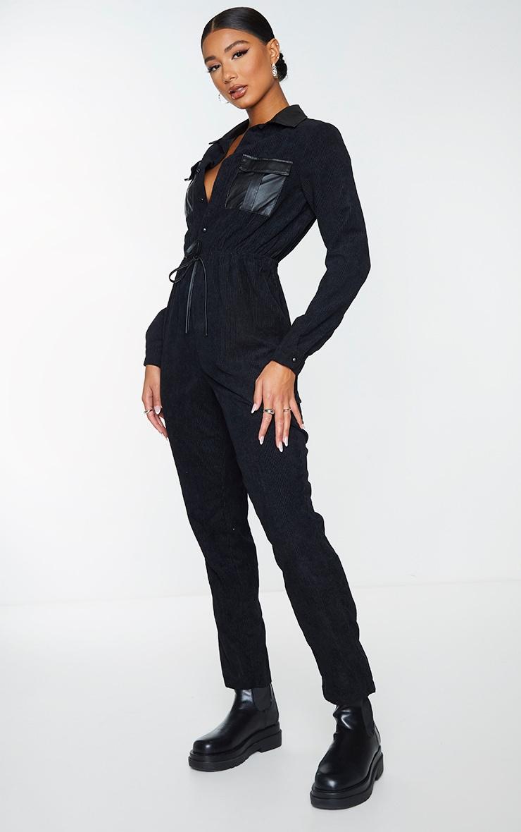 Black PU Pocket Detail Button Cord Jumpsuit 3