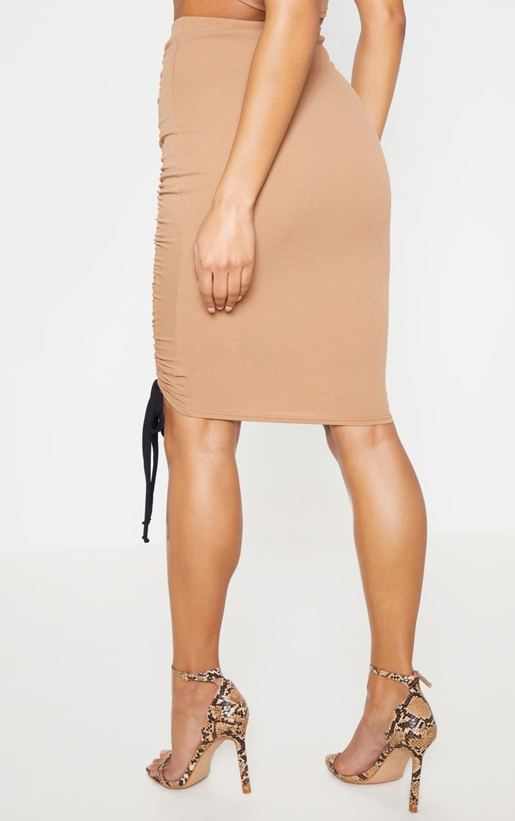 Camel Ruched Detail Midi Skirt 5