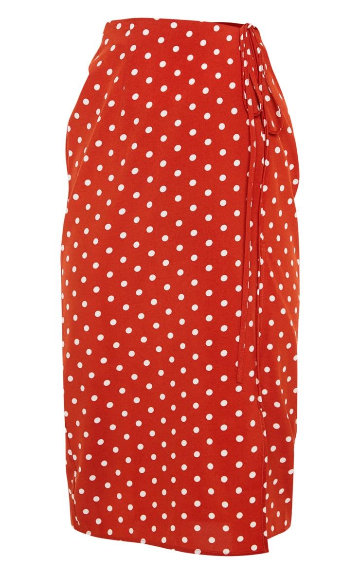 Rust Woven Large Polka Dot Split Side Midi Skirt 3