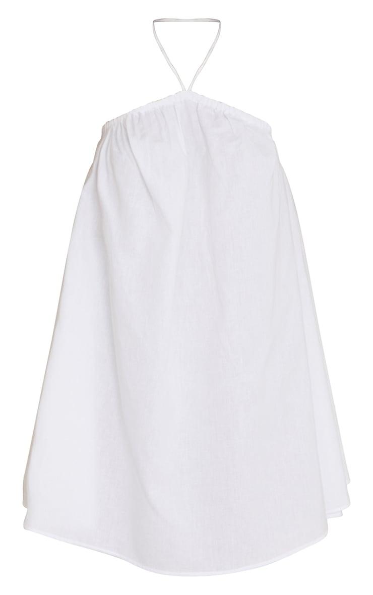 White Linen Rope Halterneck Smock Dress 5