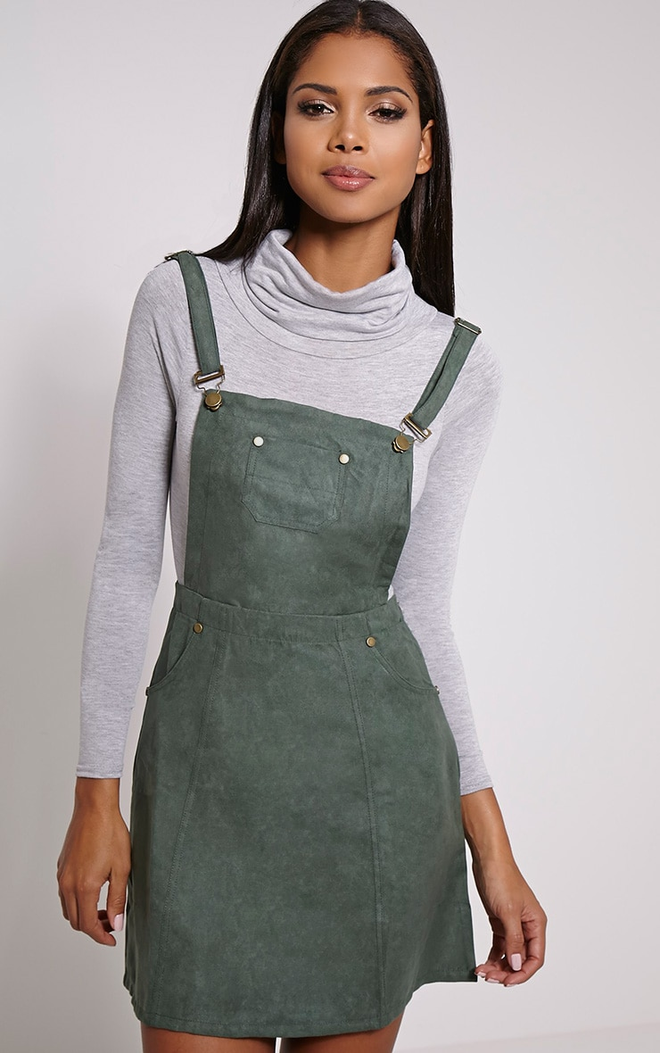 Lumie Khaki Faux Suede Pinafore Dress 1