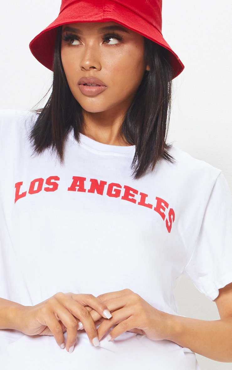White Los Angeles Slogan Oversized T Shirt 5