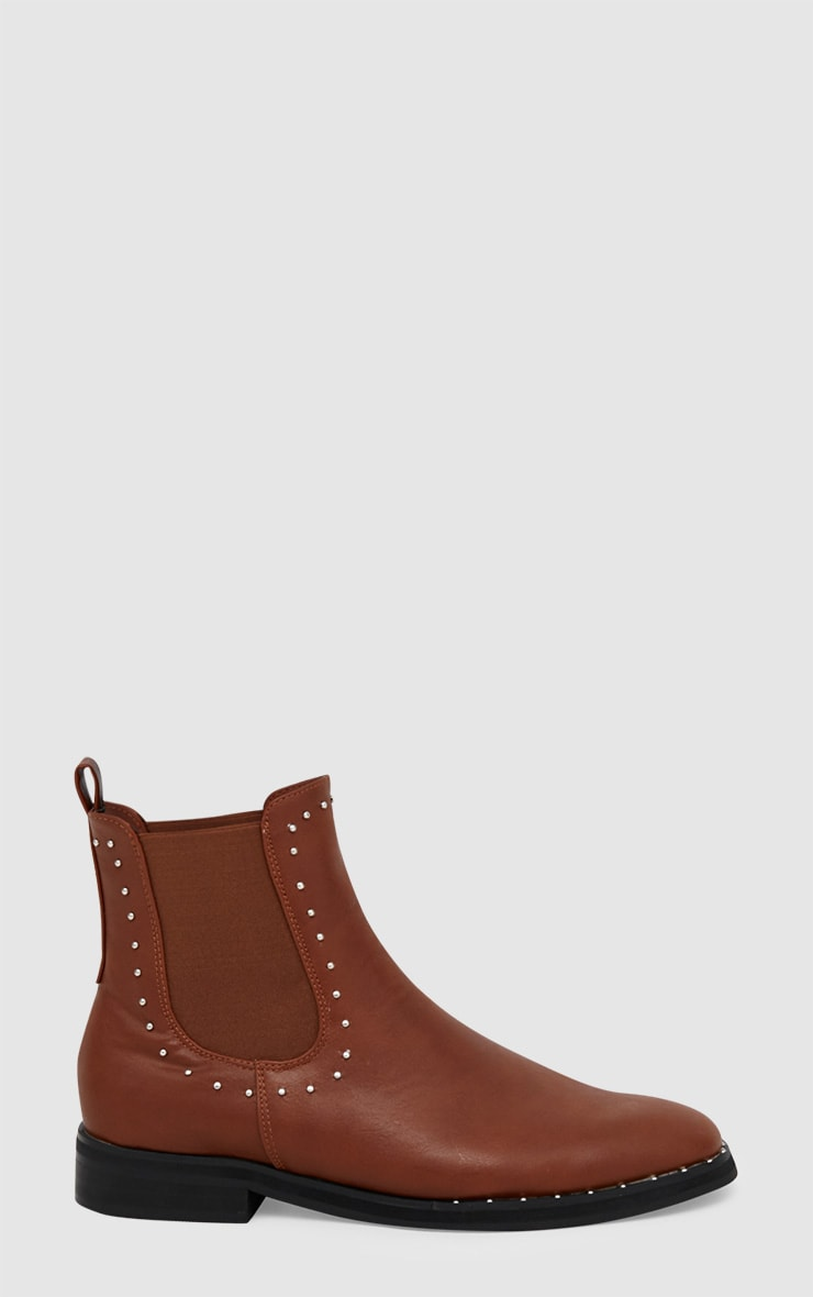 Tan PU Studded Chelsea Boot 3