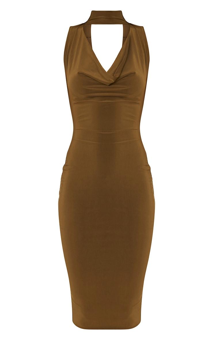 Nayasha Khaki Slinky Choker Wrap Midi Dress 3