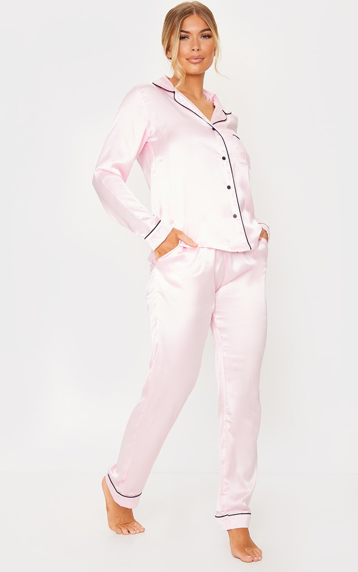 Pink Satin Pocket Long PJ Set 3