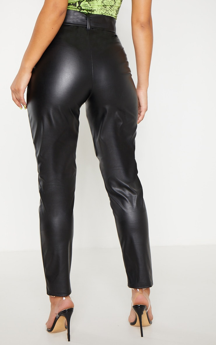 Black Faux Leather Belted Skinny Pants  4