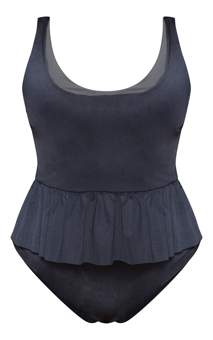 Plus Black Frill Waist Swimsuit 3