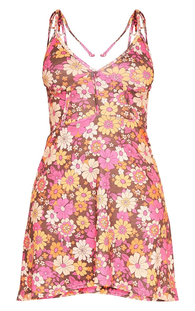 Brown Retro Floral Print Binding Detail Tie Strap Shift Dress 5